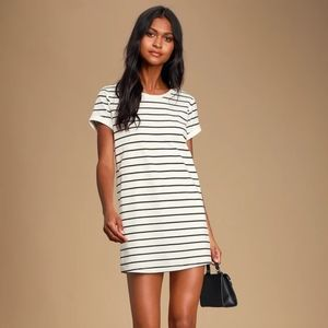 Lulus Cafe Society Black and Cream Striped Dress